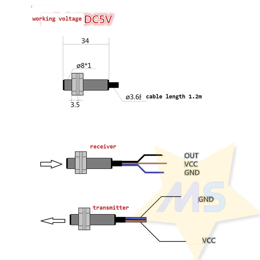Sensor de barreira laser 5V NPN