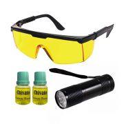 Detector de Vazamento Lanterna Ultra Violeta Com Óculos e 2 Contraste Chivato
