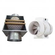 Caixa de Filtragem Chapa Galvanizada 125mm G4/M5 + Exaustor Maxx 125mm