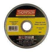 "Disco Corte Fino Aço Inox 4.1/2"" x 1.0mm x 7/8"" Thompson"