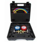 Kit Manifold + 3 Mangueiras 90cm + Maleta Para R22/R134/R404/R407 Dugold