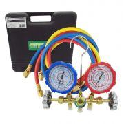 Kit Manifold R410/R22/R407 + 3 Mangueiras 90cm 800 a 4000 PSI + Maleta Gitta