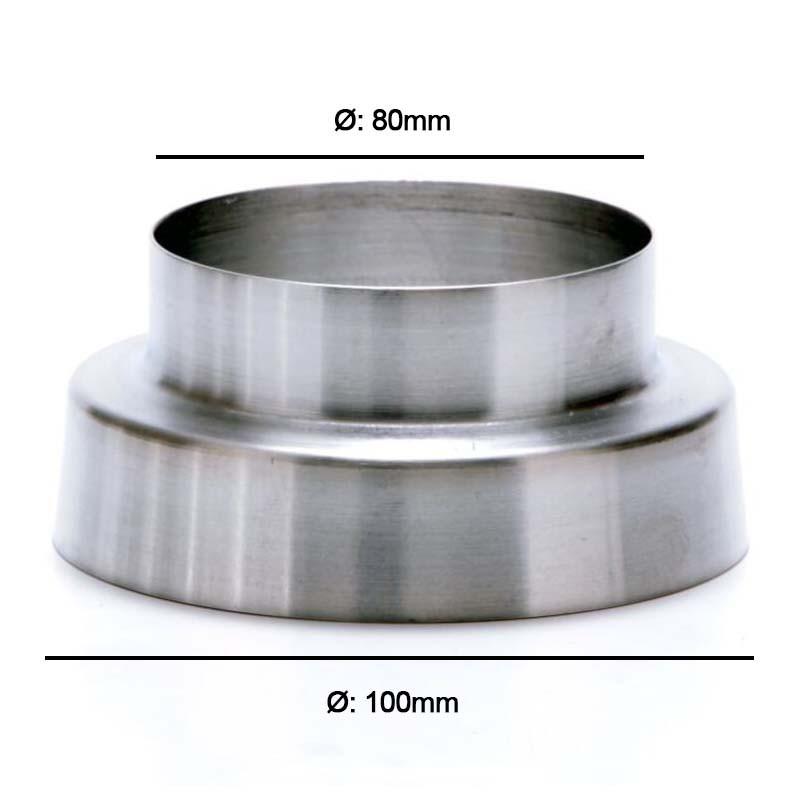 Adaptador Redutor de Dutos 100mm Para 80mm em Alumínio