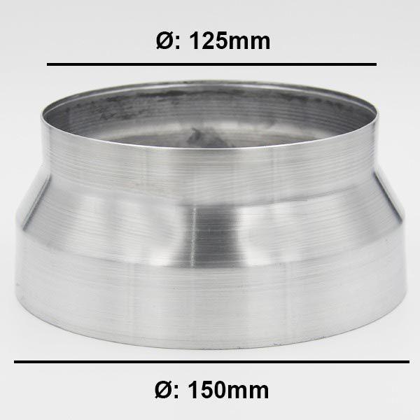 Adaptador Redutor de Dutos 150mm Para 125mm em Alumínio