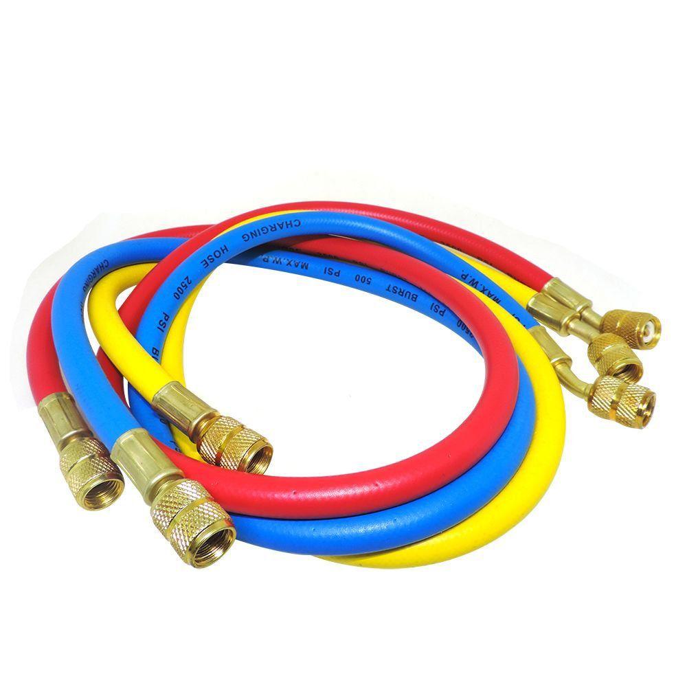 Conjunto 3 Mangueiras Manifold 90cm Gás MP39 R401 R134 R404 R12 R22 Reforçada