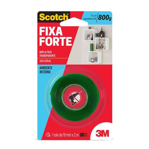 Fita Dupla Face Fixa Forte 19mm X 2m Transparente 3M
