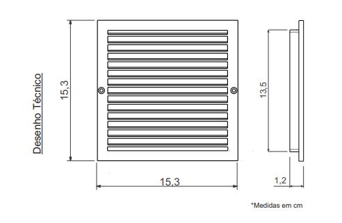 Grade de Ventilação Encaixe Quadrada 15x15cm Ventokit