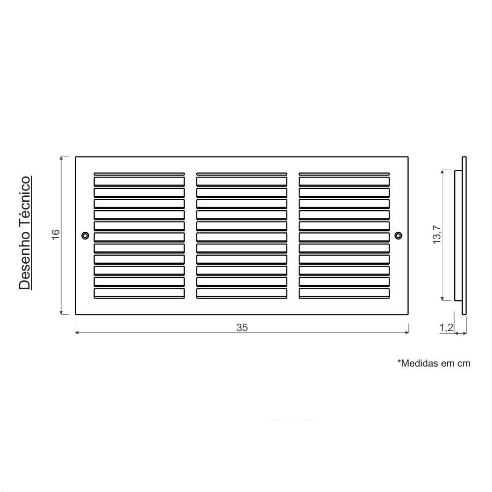 Grade de Ventilação Encaixe Retangular 35x16cm Ventokit
