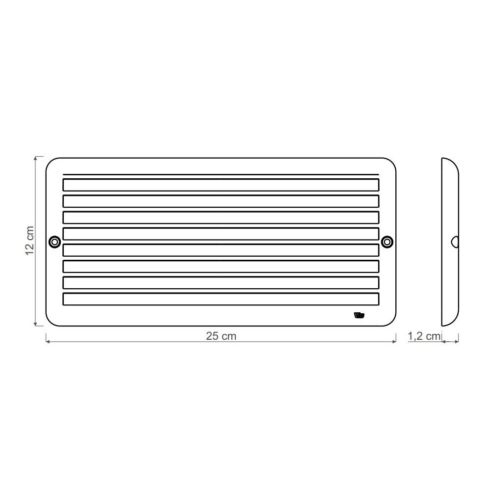 Grade de Ventilação Superfície 25 x 12 cm Ventokit Com Tela Anti-Inseto