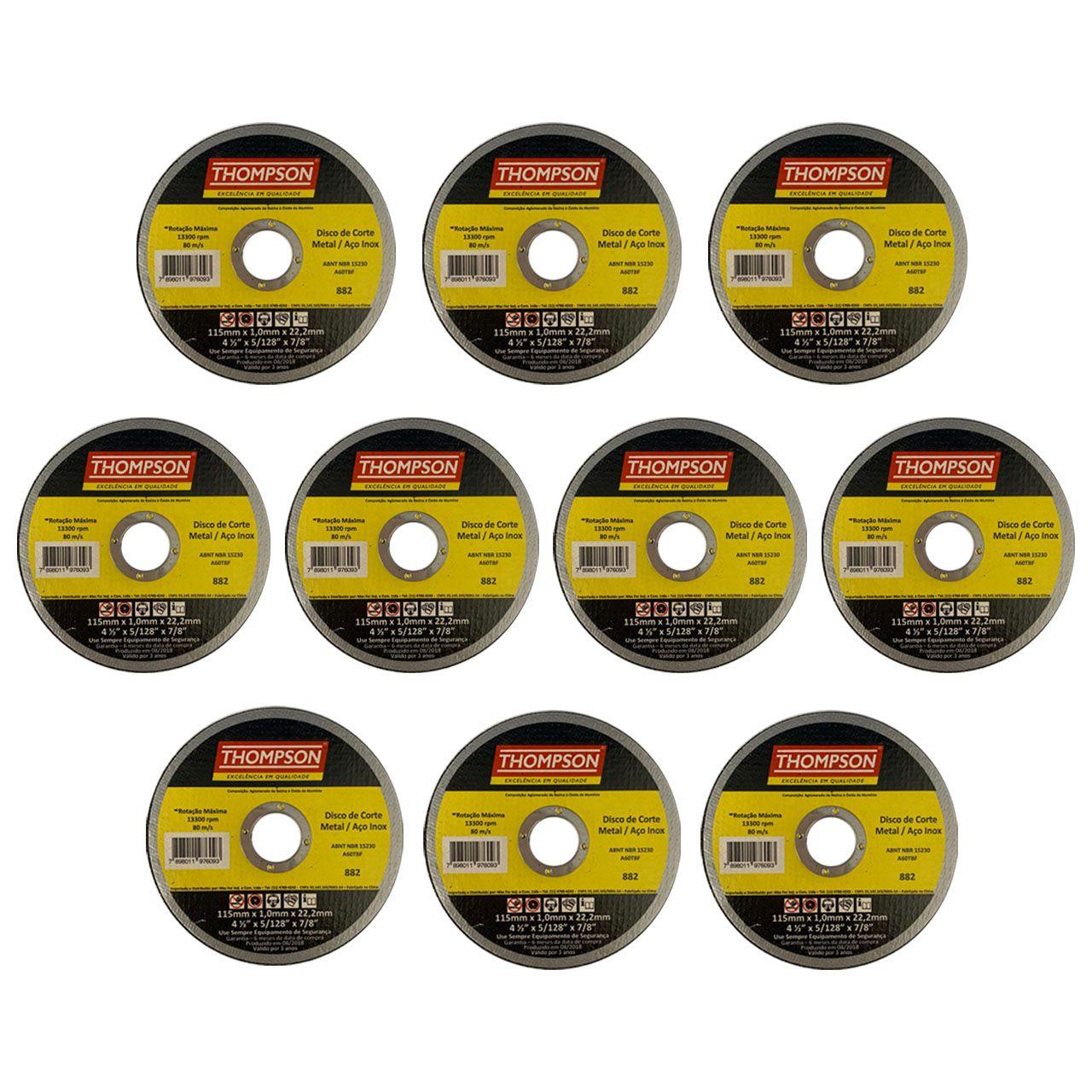 Kit com 10 Disco Corte Fino Aço Inox 4.1/2