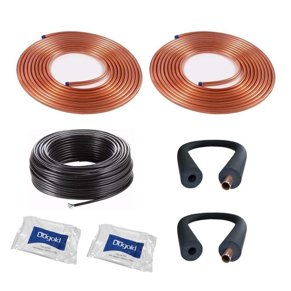 Kit Instalação Cobre + Cabo PP + Isolamento Térmico + 2 fitas PVC