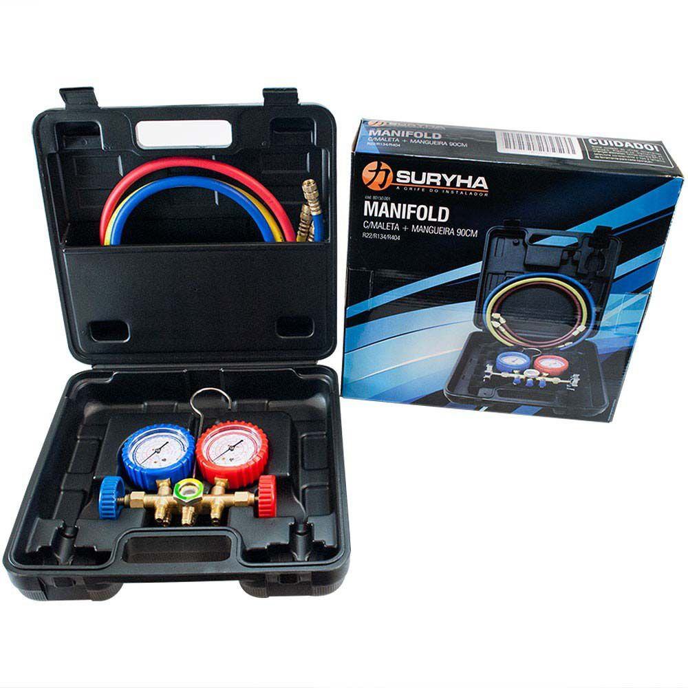 Manifold Com 3 Mangueiras 90cm + Maleta Gás R22 R134 R404 Suryha 80150.001