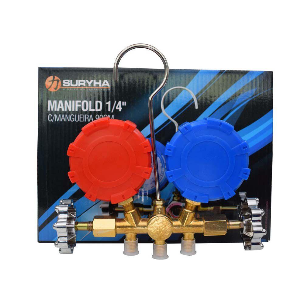 "Manifold 1/4"" Com 3 Mangueiras Suryha Gás R22 R134 R404"