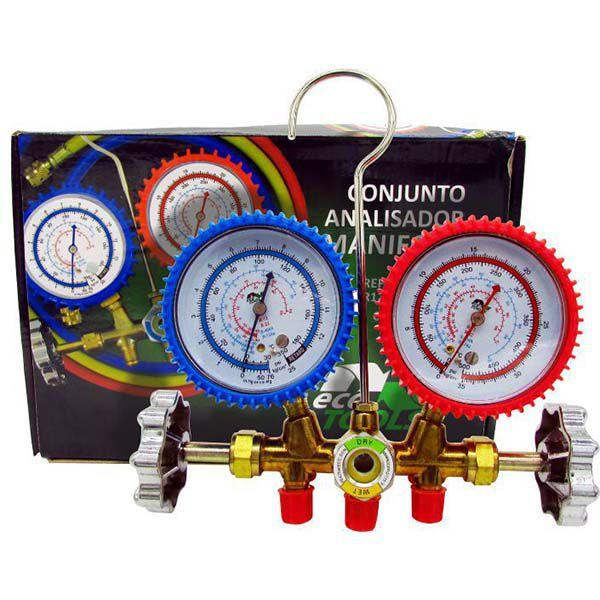 Manifold Com 3 Mangueiras 90cm EcoTools Gás R12 R22 R134a