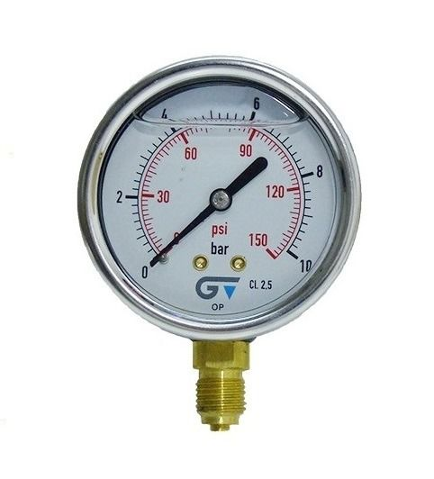 Manômetro Dn63 Caixa Inox 0-10BAR 0-150PSI Com Glicerina