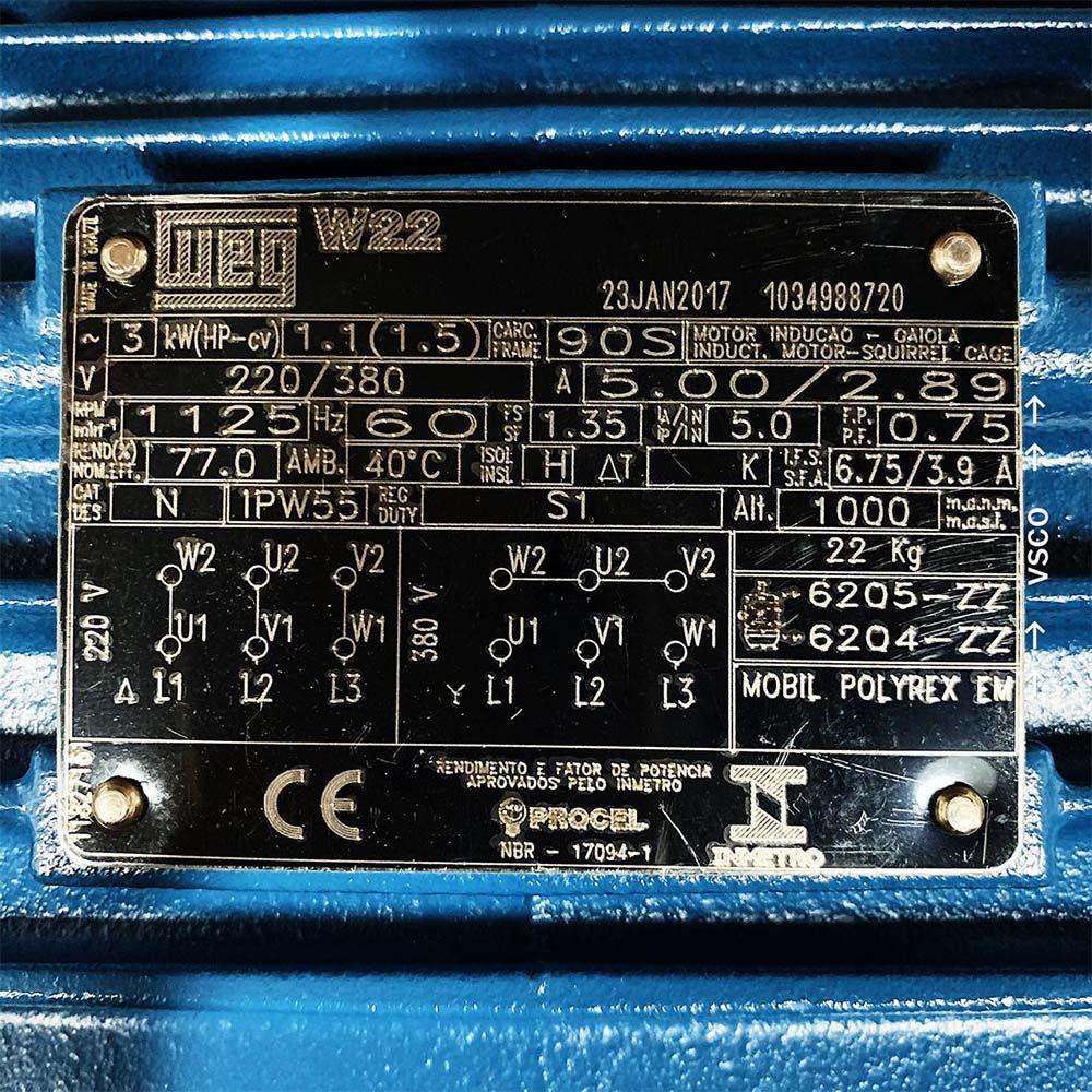 Motor Elétrica 1,5V 220V 60Hz Hitachi HLD16767E