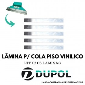 Kit 5 Lâminas Dentadas Cola Piso Vinílico (DA4) 28cm Aço