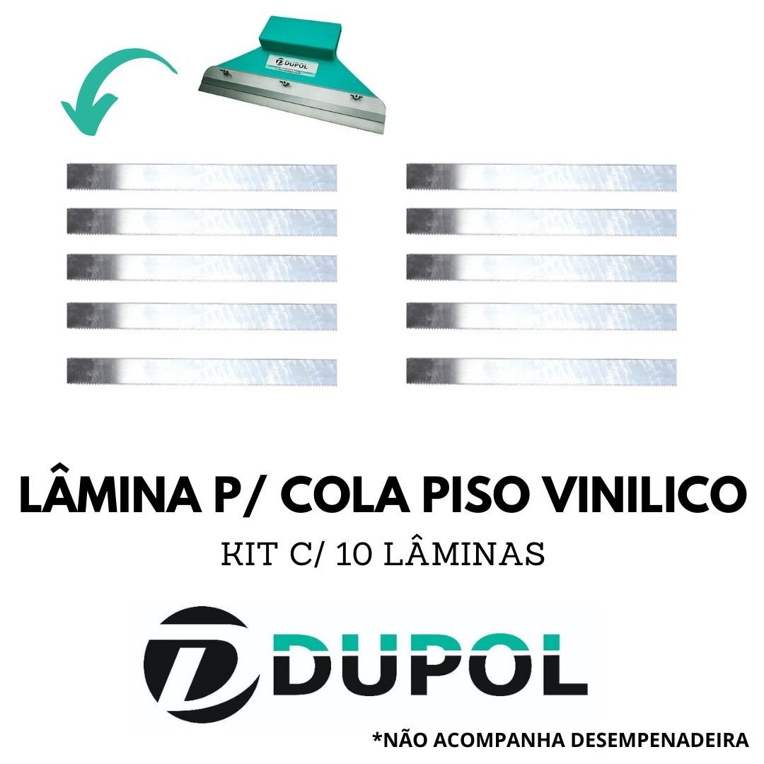 Kit 10 Lâminas Dentadas Cola Piso Vinílico (DA4) 28cm Aço