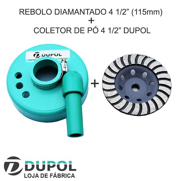 Rebolo Diamantado 115mm + Coletor de Pó 4 1/2""