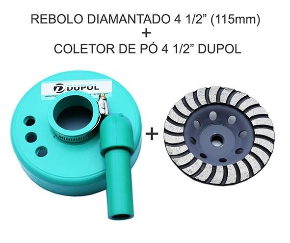 "Rebolo Diamantado 115mm + Coletor de Pó 4 1/2"""