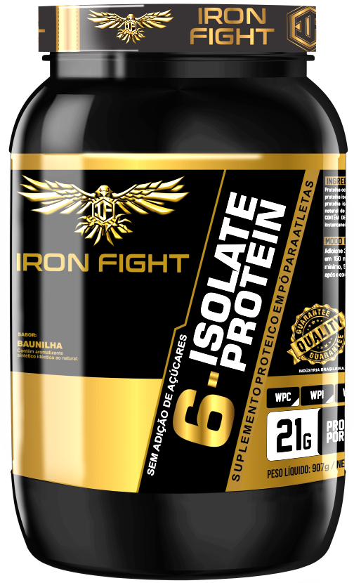 6 Isolate Protein Pote 907g em pó Iron Fight