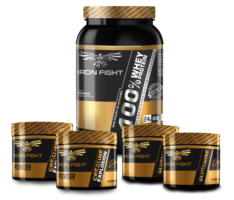 Combo 100% Whey Protein Pote 907g em pó Iron Fight + 2 unid Creatine Explosion Pote 150g em pó Iron Fight  + 2 unid Glutamine Pote 150g Iron Fight