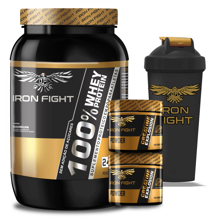 Combo 100% Whey Protein Pote 907g em pó Iron Fight + 2 unid Creatine Explosion Pote 150g em pó Iron Fight + Coqueteleira Iron Fight