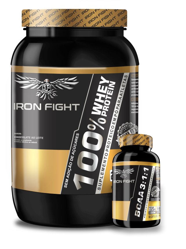 Combo 100% Whey Protein Pote 907g em pó Iron Fight + BCAA 3:1:1 Pote 60 Cápsulas Iron Fight