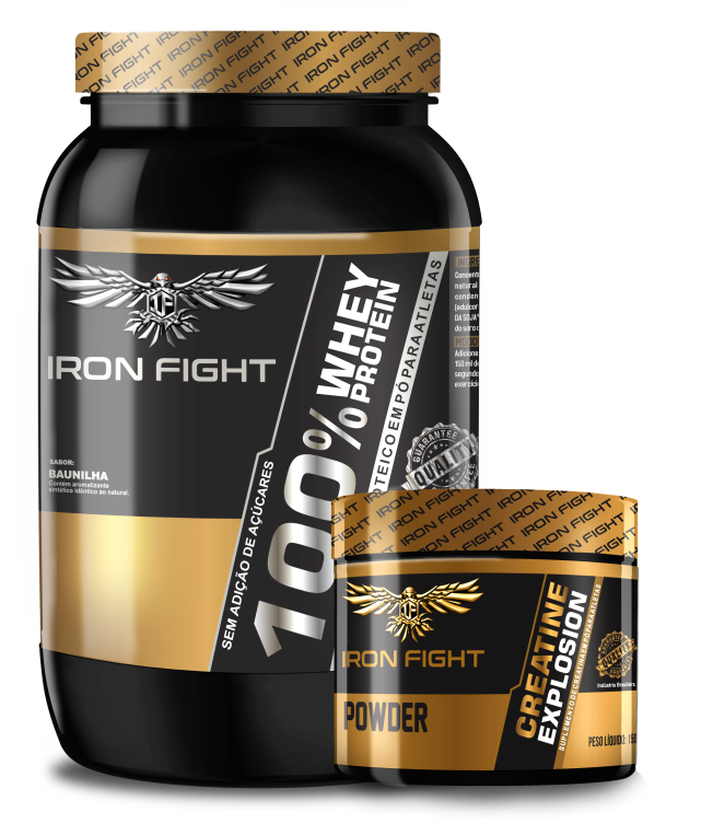 Combo 100% Whey Protein Pote 907g em pó Iron Fight + Glutamine Pote 150g em pó Iron Fight