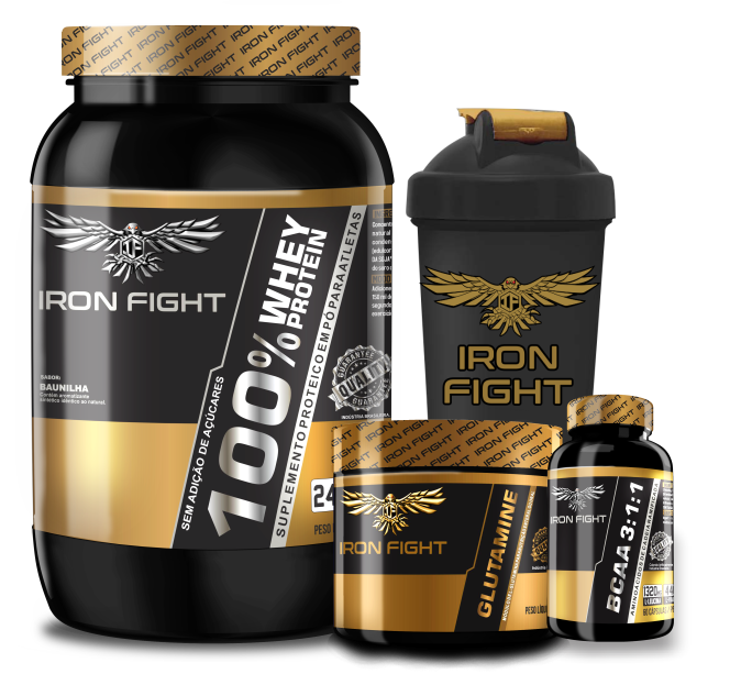 Combo 100% Whey Protein Pote 907g em pó Iron Fight + Glutamine Pote 150g em pó Iron Fight  + BCAA 3:1:1 Pote 60 Cápsulas Iron Fight + Coqueteleira Iron Fight