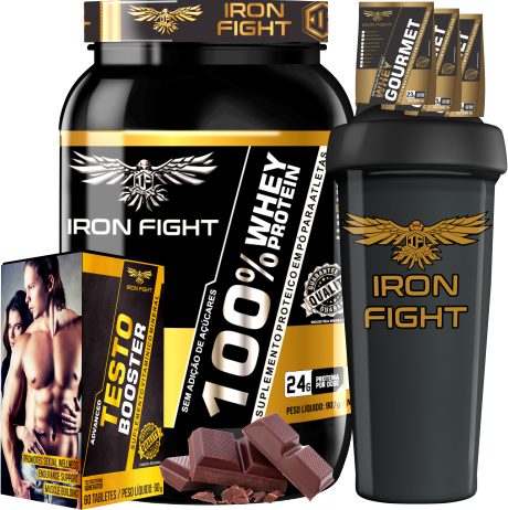 COMBO 1 100% WHEY PROTEIN + 1 TESTO BOOSTER + 1 COQ GRÁTIS + 3 AMOSTRAS GRÁTIS