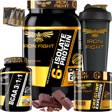 COMBO 1 6-ISOLATE PROTEIN + 1 BCAA 3:1:1 + 1 CREATINE + 1 COQ GRÁTIS + 3 AMOSTRAS GRÁTIS