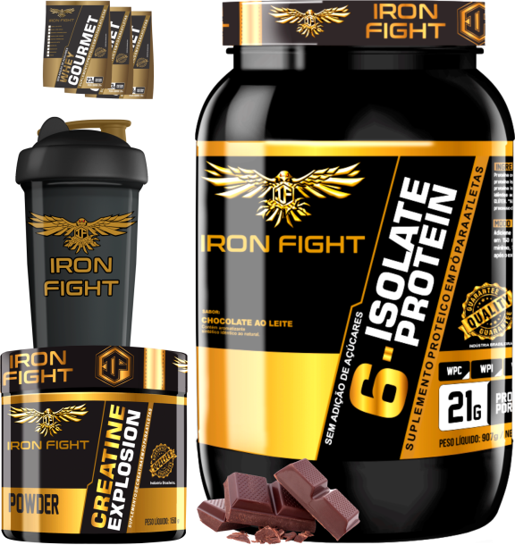 COMBO 1 6-ISOLATE PROTEIN + 1 CREATINE + 1 COQ GRÁTIS + 3 AMOSTRAS GRÁTIS