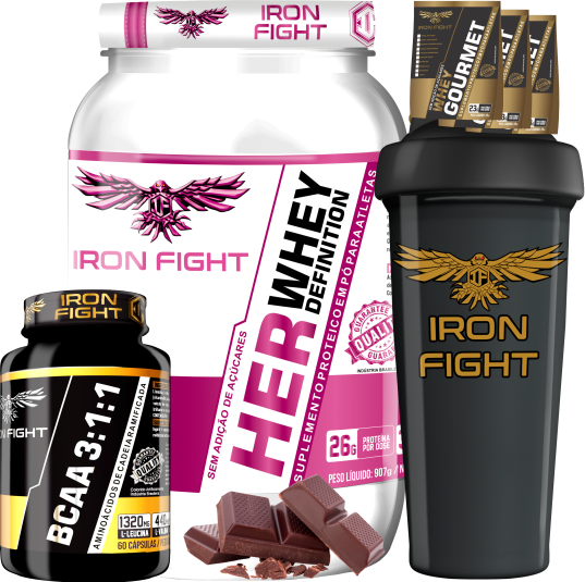 COMBO 1 HER WHEY DEFINITION + 1 BCAA 3:1:1 + 1 COQ GRÁTIS + 3 AMOSTRAS GRÁTIS