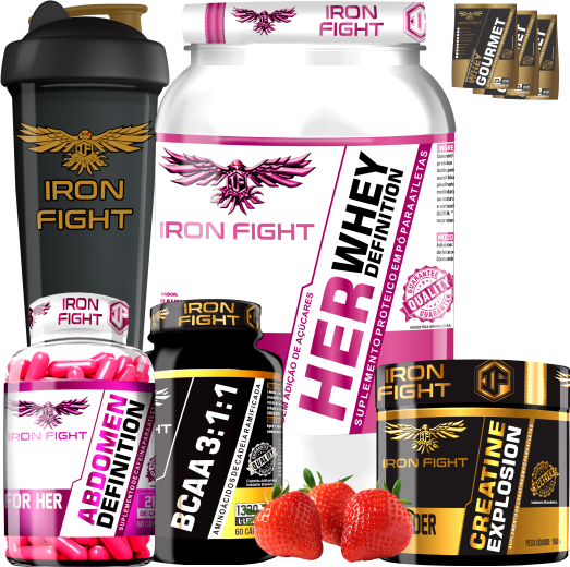 COMBO 1 HER WHEY DEFINITION + 1 BCAA 3:1:1 + 1 CREATINE + 1 ABDOMEN DEFINITION FOR HER  + 1 COQ GRÁTIS + 3 AMOSTRAS GRÁTIS