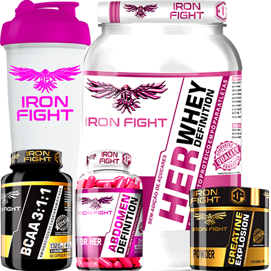 COMBO 1 HER WHEY DEFINITION + 1 BCAA 3:1:1 + 1 CREATINE + 1 ABDOMEN DEFINITION FOR HER  + 1 COQ GRÁTIS