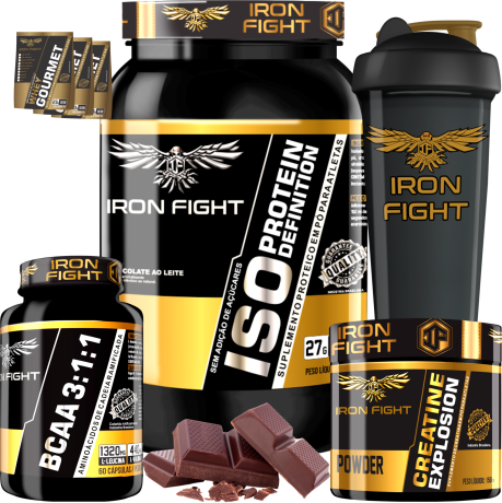 COMBO 1 ISO PROTEIN DEFINITION + 1 BCAA 3:1:1 + 1 CREATINE + 1 COQ GRÁTIS + 3 AMOSTRAS GRÁTIS