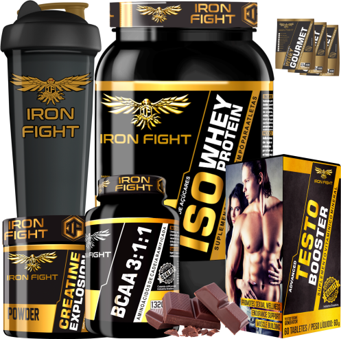 COMBO 1 ISO WHEY PROTEIN + 1 BCAA 3:1:1 + 1 CREATINE + 1 TESTO BOOSTER + 1 COQ GRÁTIS + 3 AMOSTRAS GRÁTIS