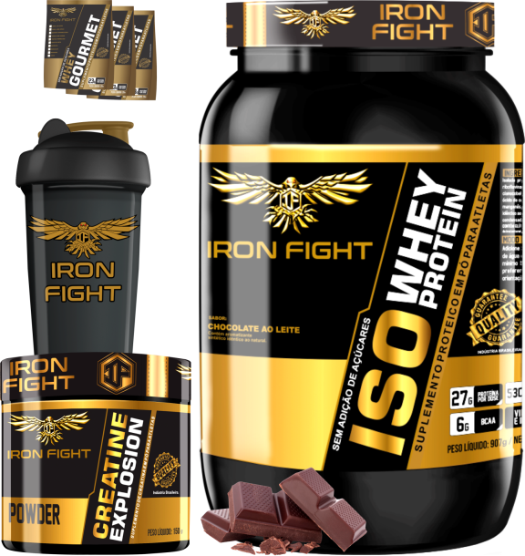 COMBO 1 ISO WHEY PROTEIN + 1 CREATINE + 1 COQ GRÁTIS + 3 AMOSTRAS GRÁTIS