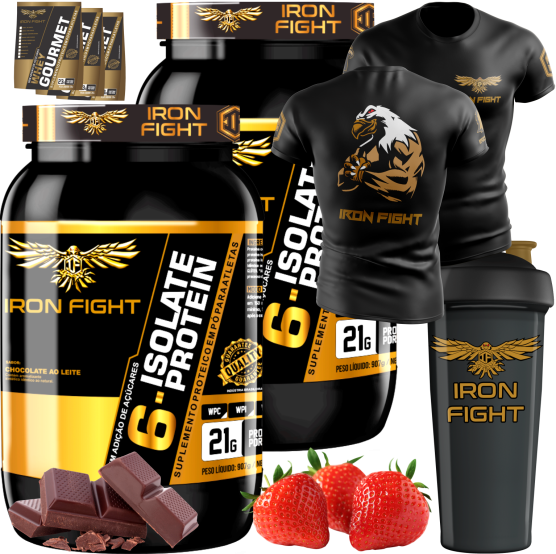 COMBO 2 6-ISOLATE PROTEIN + 1 CAMISETA + 1 COQ GRÁTIS + 3 AMOSTRAS GRÁTIS
