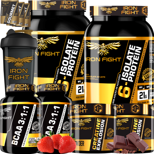 COMBO 2 6-ISOLATE PROTEIN + 2 BCAA 3:1:1 + 2 CREATINE + 1 COQ GRÁTIS + 3 AMOSTRAS GRÁTIS