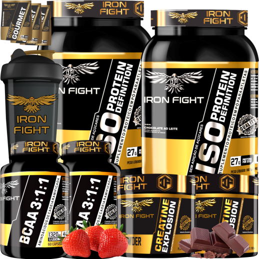 COMBO 2 ISO PROTEIN DEFINITION + 2 BCAA 3:1:1 + 2 CREATINE + 1 COQ GRÁTIS + 3 AMOSTRAS GRÁTIS