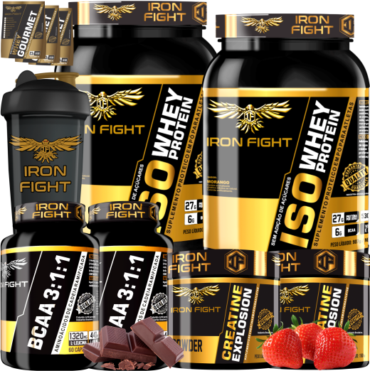 COMBO 2 ISO WHEY PROTEIN + 2 BCAA 3:1:1 + 2 CREATINE + 1 COQ GRÁTIS + 3 AMOSTRAS GRÁTIS