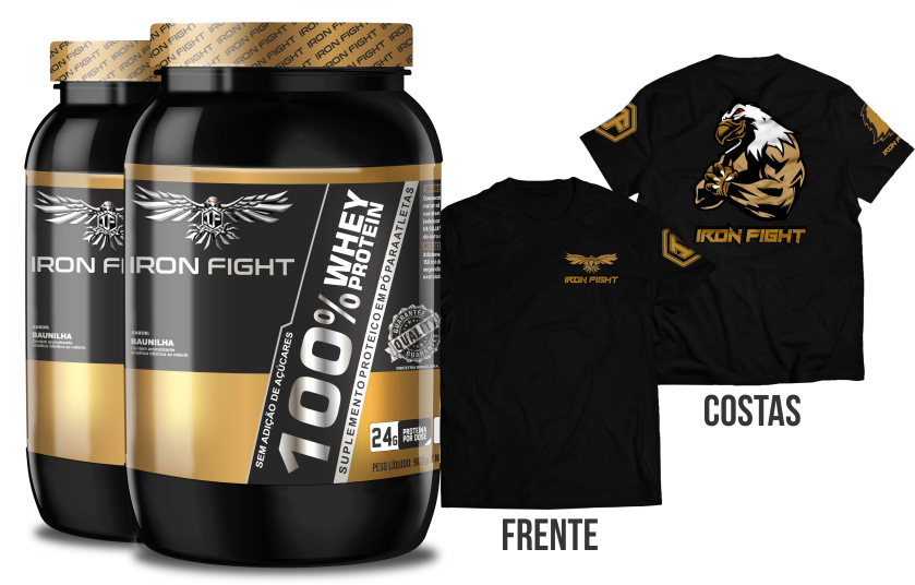 Combo 2 unid 100% Whey Protein Pote 907g em pó + Camiseta Iron Fight
