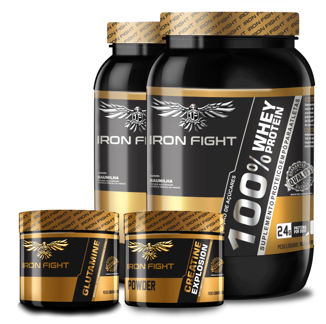 Combo 2 unid 100% Whey Protein Pote 907g em pó Iron Fight + Creatine Explosion Pote 150g em pó Iron Fight  + Glutamine Pote 150g Iron Fight