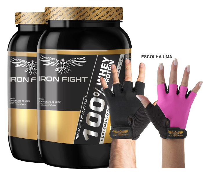 Combo 2 unid 100% Whey Protein Pote 907g em pó + Luva Iron Fight