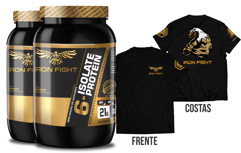 Combo 2 unid 6-Isolate Protein Pote 907g em pó + Camiseta Iron Fight