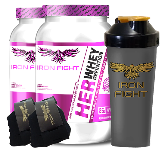 Combo 2 unid Her Whey Definition Pote 907g em pó + Coqueteleira Iron Fight + Luva Iron Fight