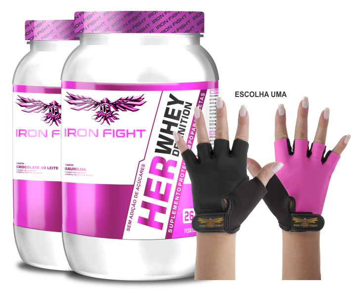 Combo 2 unid Her Whey Definition Pote 907g em pó + Luva Iron Fight