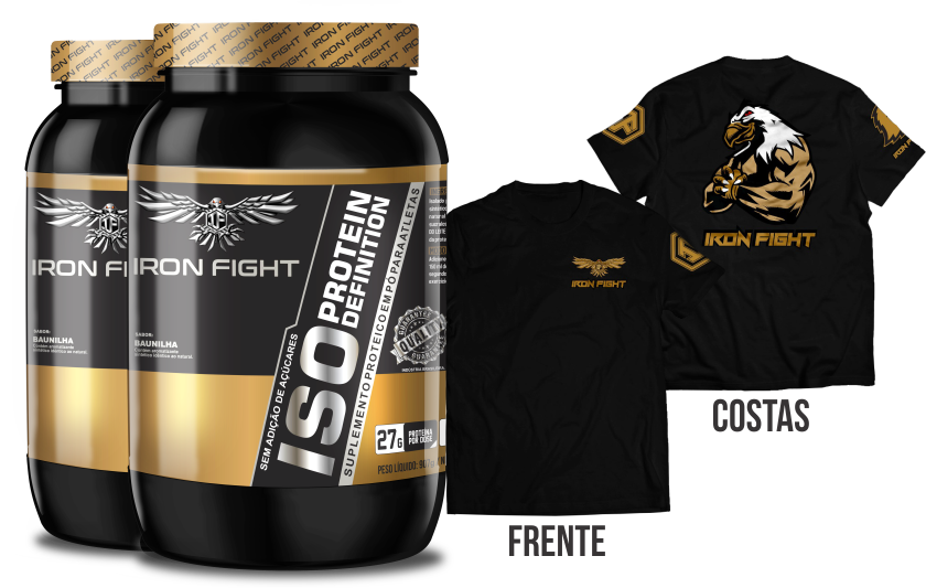 Combo 2 unid ISO Protein Definition Pote 907g em pó + Camiseta Iron Fight